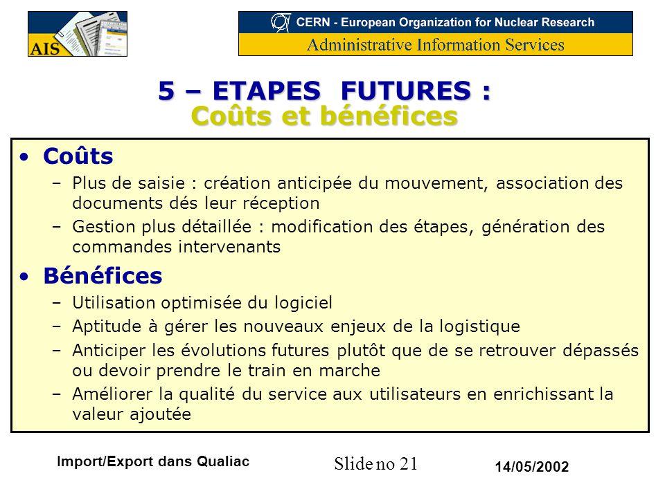 Slide no 21 14/05/2002 Import/Export dans Qualiac 5 – ETAPES FUTURES : Coûts et bénéfices Coûts –Plus de saisie : création anticipée du mouvement, ass