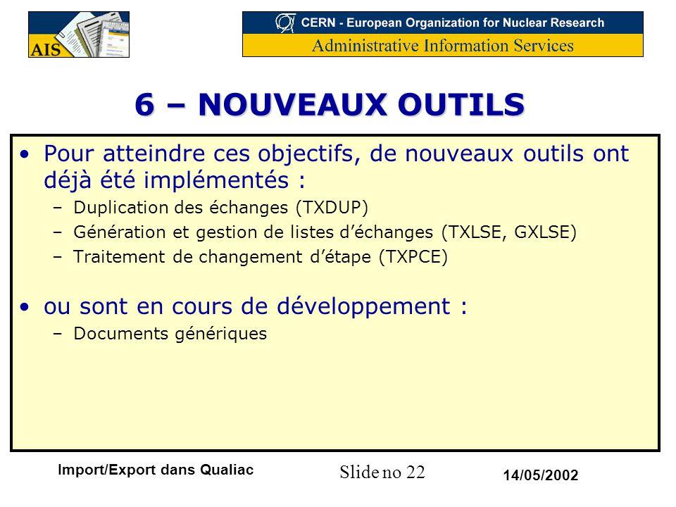 Slide no 22 14/05/2002 Import/Export dans Qualiac 6 – NOUVEAUX OUTILS Pour atteindre ces objectifs, de nouveaux outils ont déjà été implémentés : –Dup