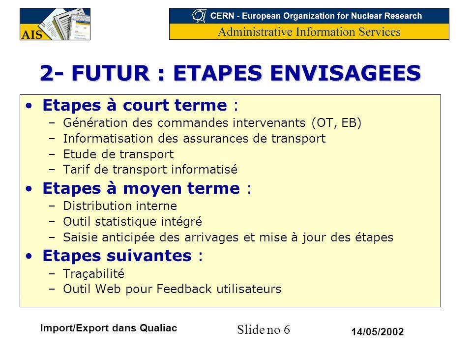 Slide no 6 14/05/2002 Import/Export dans Qualiac 2- FUTUR : ETAPES ENVISAGEES Etapes à court terme : –Génération des commandes intervenants (OT, EB) –