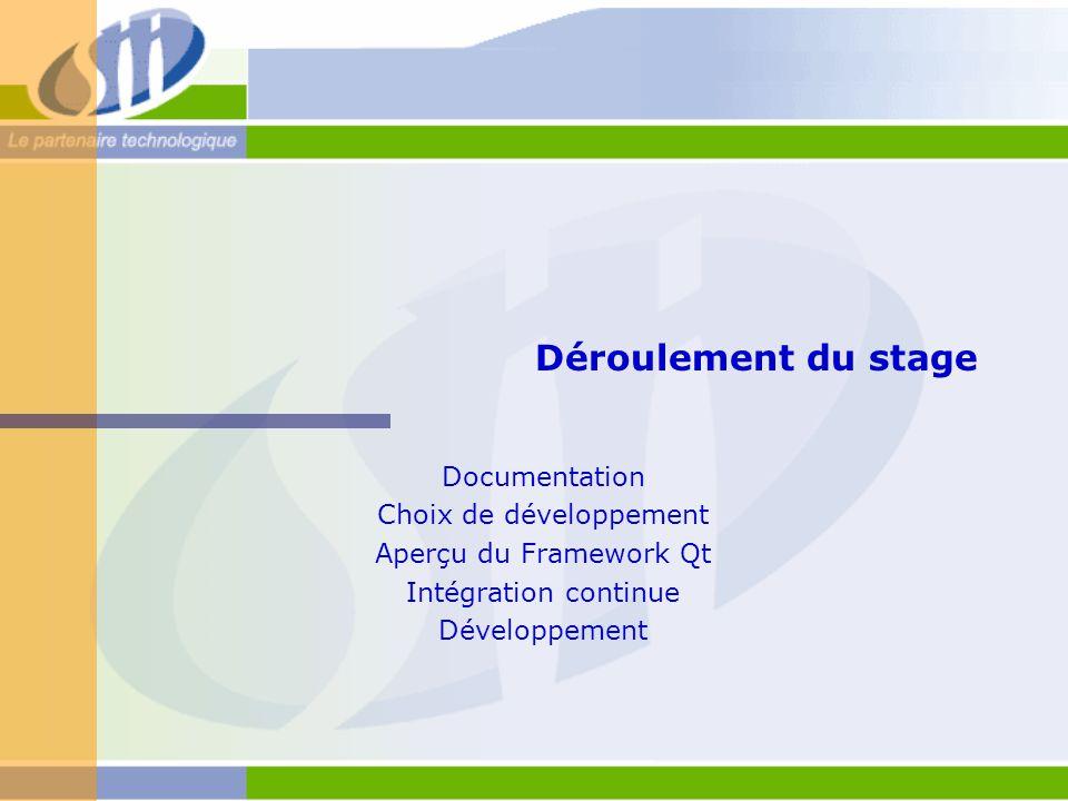 Déroulement du stage Documentation Choix de développement Aperçu du Framework Qt Intégration continue Développement