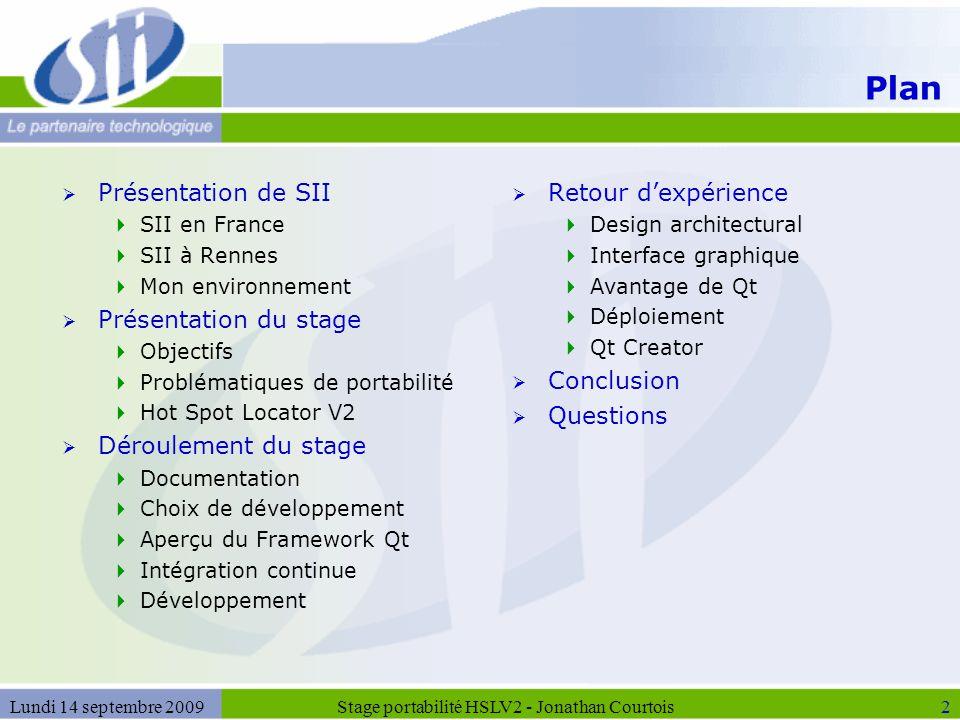 2 Plan  Présentation de SII  SII en France  SII à Rennes  Mon environnement  Présentation du stage  Objectifs  Problématiques de portabilité 