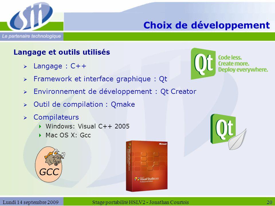 Choix de développement  Langage : C++  Framework et interface graphique : Qt  Environnement de développement : Qt Creator  Outil de compilation :