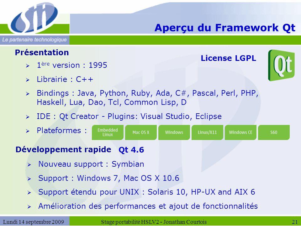 Aperçu du Framework Qt  1 ère version : 1995  Librairie : C++  Bindings : Java, Python, Ruby, Ada, C#, Pascal, Perl, PHP, Haskell, Lua, Dao, Tcl, C