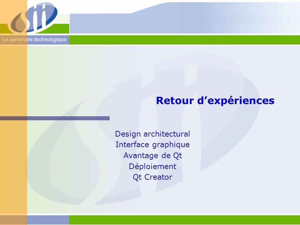 Retour d'expériences Design architectural Interface graphique Avantage de Qt Déploiement Qt Creator