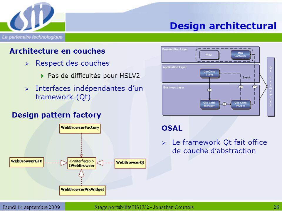 Design architectural  Respect des couches  Pas de difficultés pour HSLV2  Interfaces indépendantes d'un framework (Qt) Stage portabilité HSLV2 - Jo