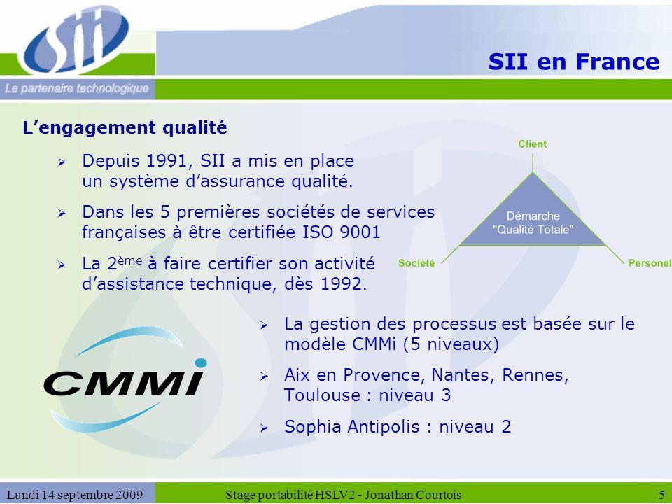 SII en France  Depuis 1991, SII a mis en place un système d'assurance qualité.  Dans les 5 premières sociétés de services françaises à être certifié
