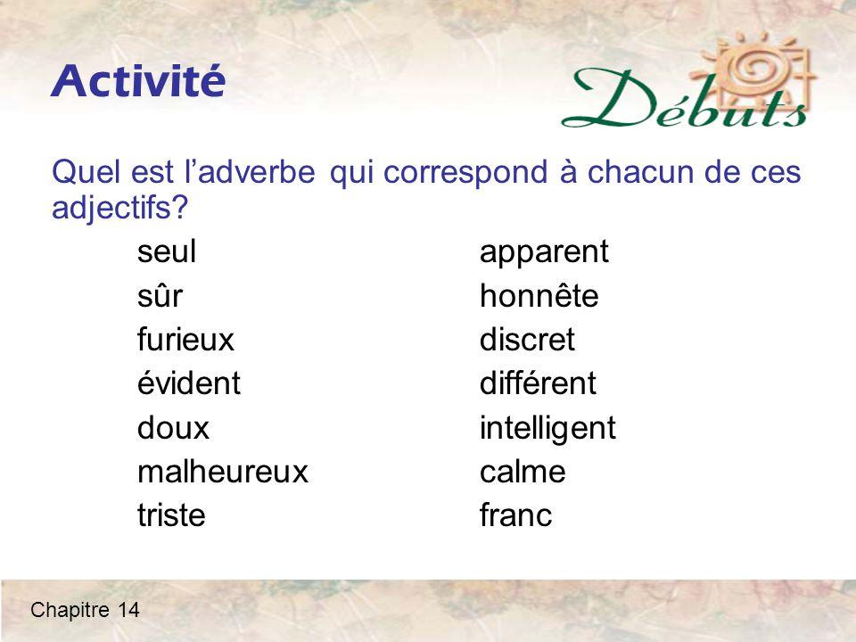 Activité Quel est l'adverbe qui correspond à chacun de ces adjectifs.