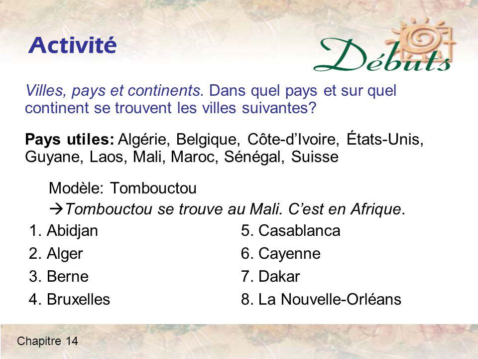 Activité Villes, pays et continents.