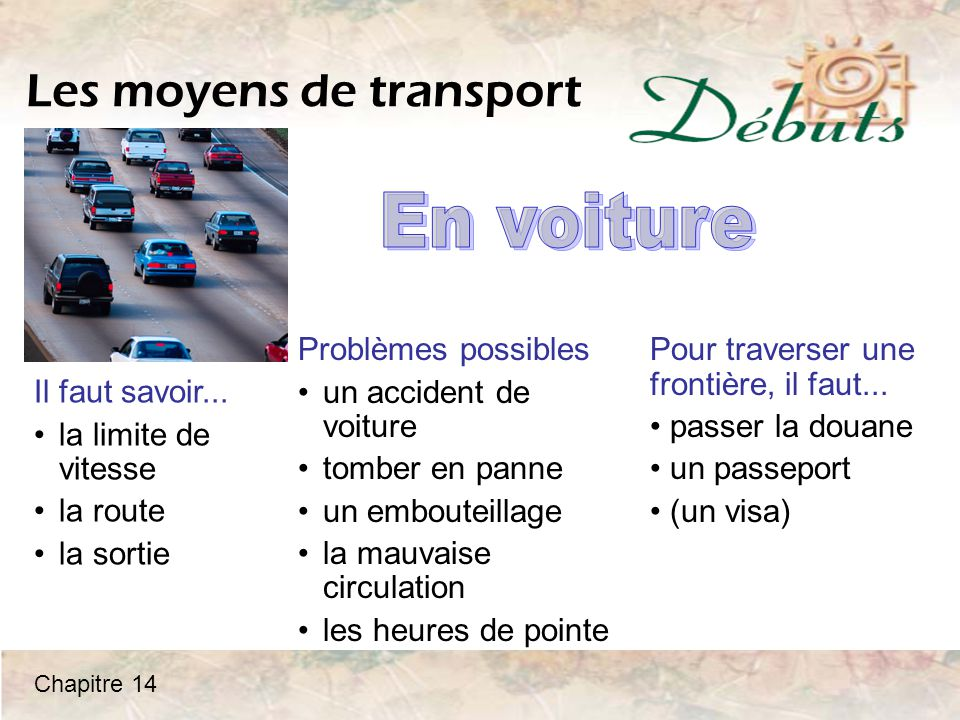Les moyens de transport Il faut savoir...