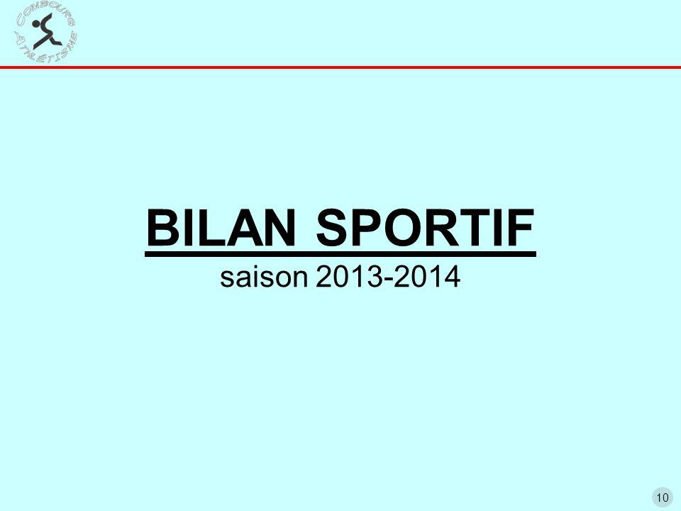 10 BILAN SPORTIF saison 2013-2014