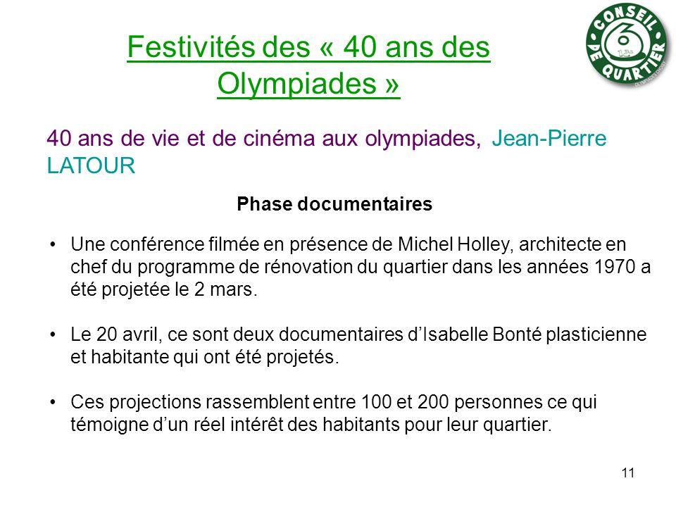 Festivités des « 40 ans des Olympiades » Phase documentaires 11 Une conférence filmée en présence de Michel Holley, architecte en chef du programme de rénovation du quartier dans les années 1970 a été projetée le 2 mars.