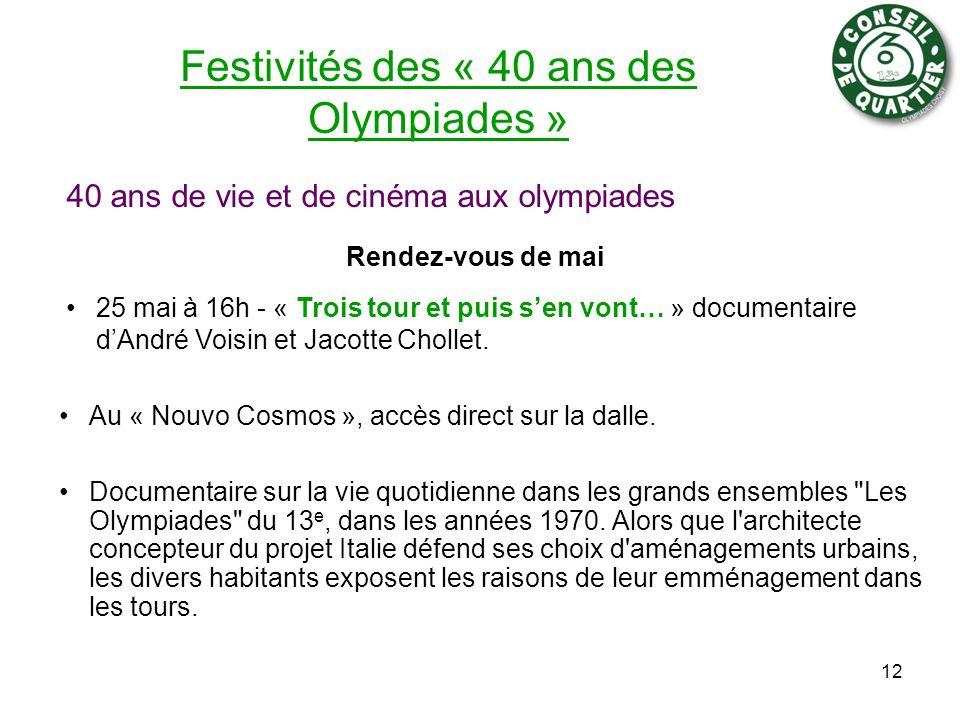 Festivités des « 40 ans des Olympiades » 25 mai à 16h - « Trois tour et puis s'en vont… » documentaire d'André Voisin et Jacotte Chollet.
