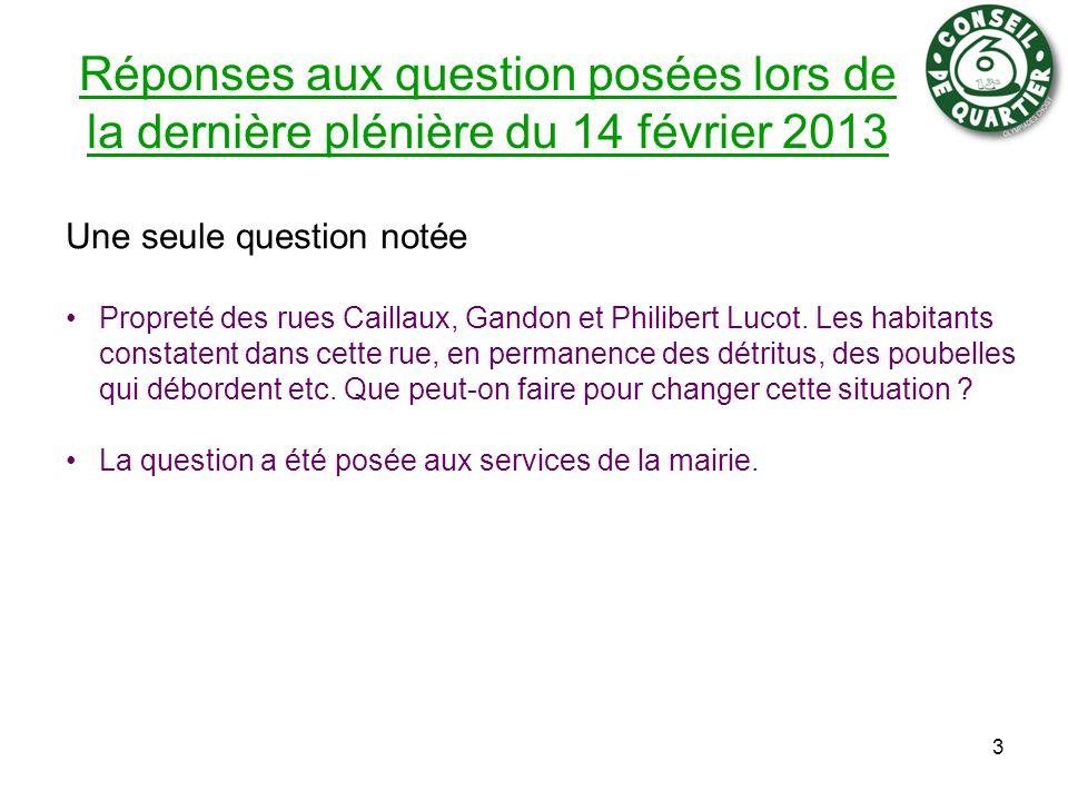 Réponses aux question posées lors de la dernière plénière du 14 février 2013 Une seule question notée Propreté des rues Caillaux, Gandon et Philibert Lucot.