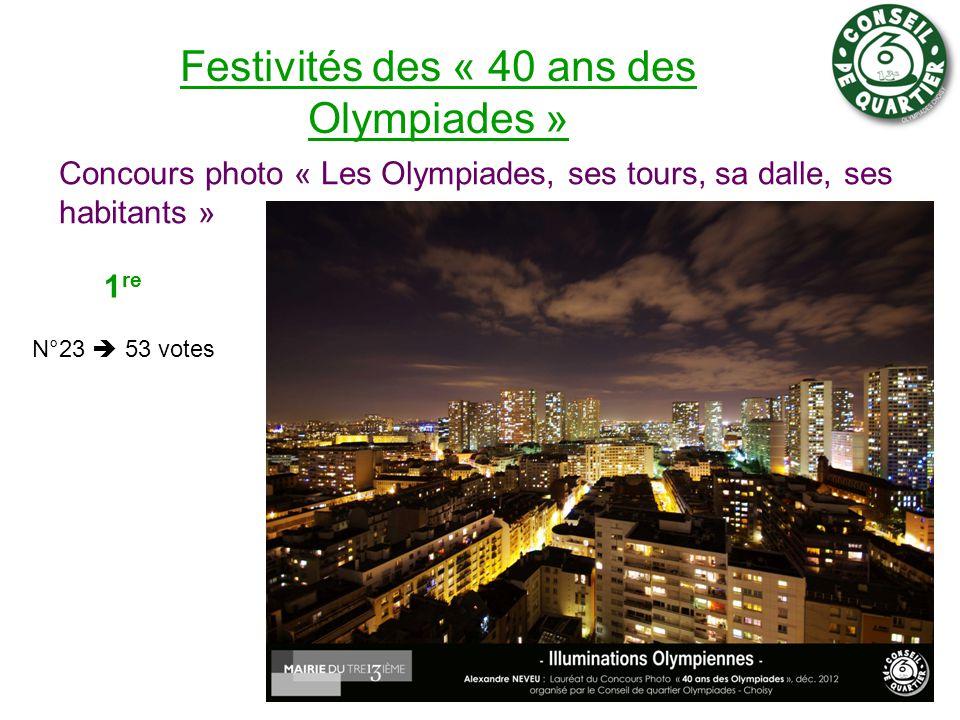 Festivités des « 40 ans des Olympiades » Concours photo « Les Olympiades, ses tours, sa dalle, ses habitants » 6 1 re N°23  53 votes