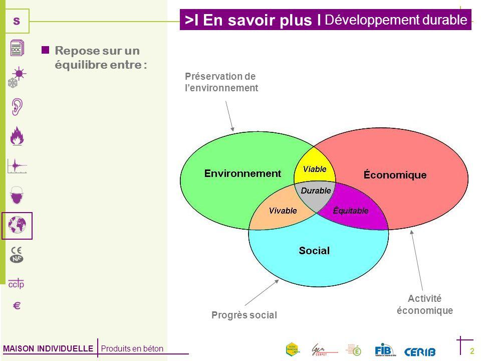 MAISON INDIVIDUELLE Produits en béton >I En savoir plus I Développement durable 2  Repose sur un équilibre entre : Préservation de l'environnement Progrès social Activité économique
