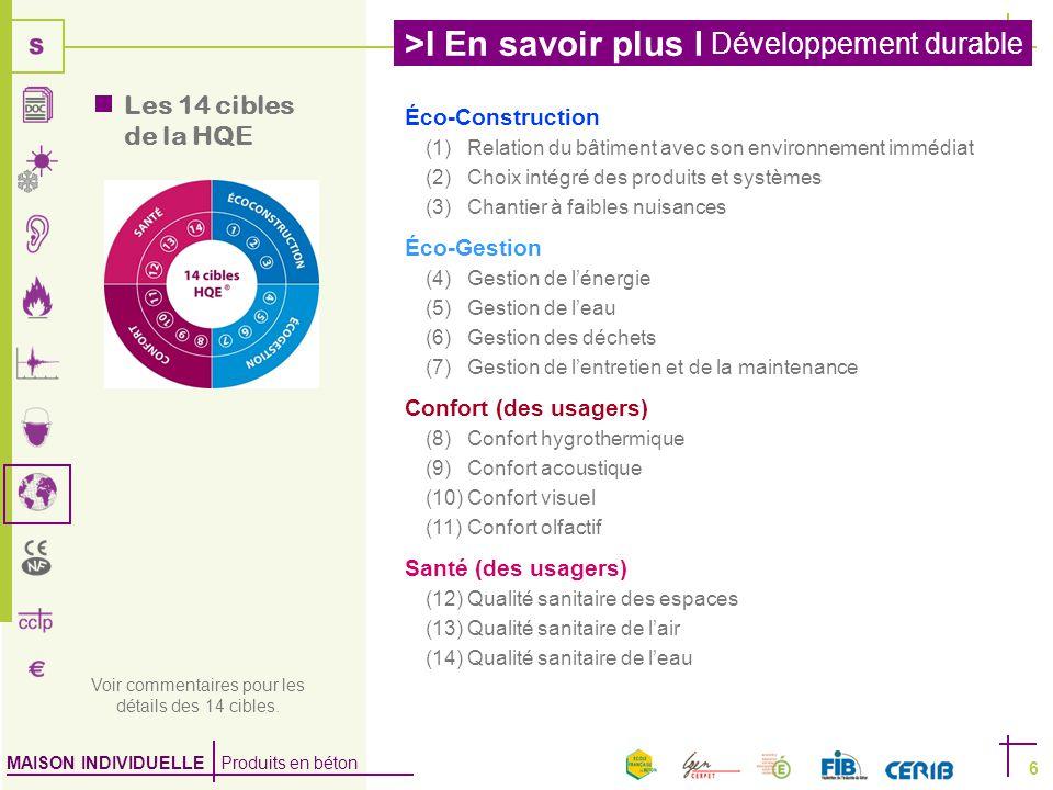 MAISON INDIVIDUELLE Produits en béton >I En savoir plus I Développement durable 6  Les 14 cibles de la HQE Voir commentaires pour les détails des 14 cibles.