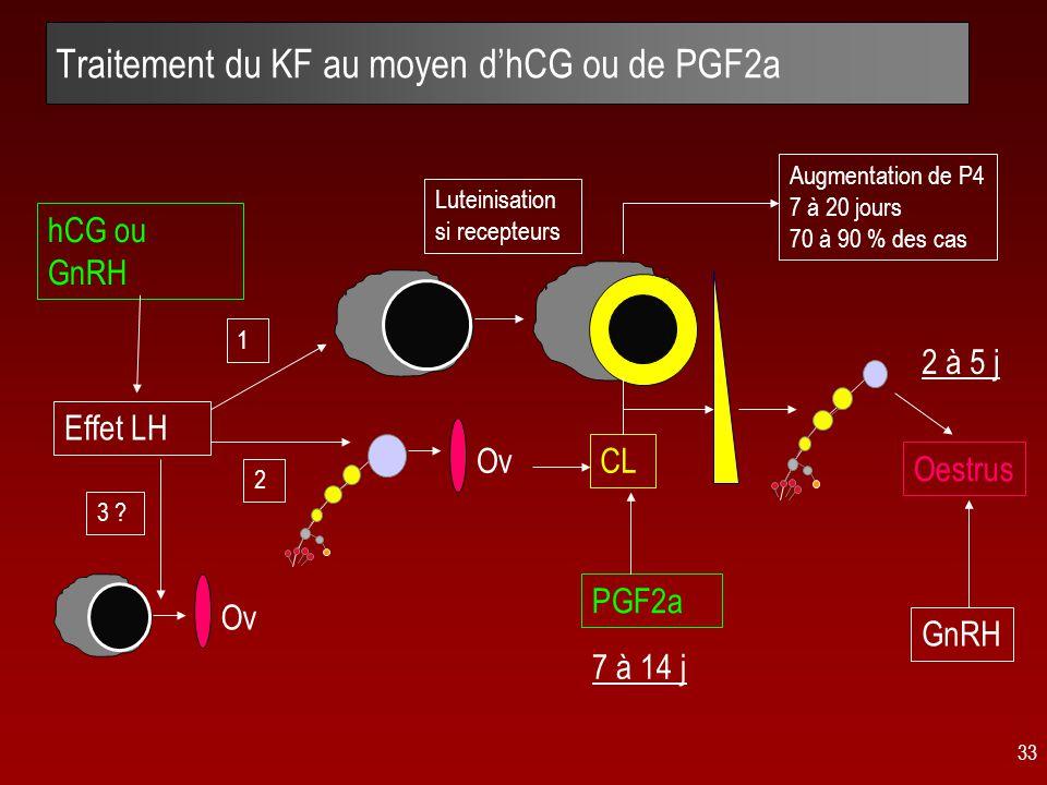 33 Traitement du KF au moyen d'hCG ou de PGF2a hCG ou GnRH CL 3 .