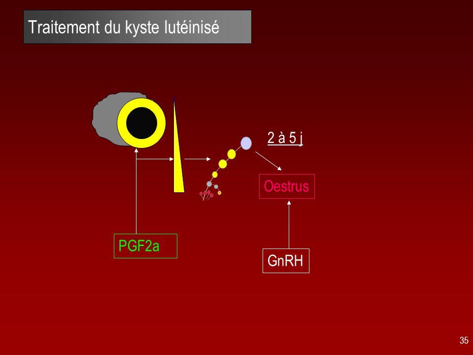 35 Traitement du kyste lutéinisé PGF2a Oestrus GnRH 2 à 5 j