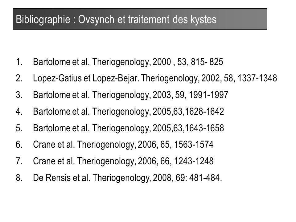 40 Bibliographie : Ovsynch et traitement des kystes 1.Bartolome et al.