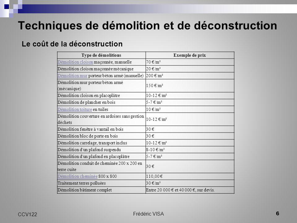 Techniques de démolition et de déconstruction CCV122 6 Frédéric VISA Le coût de la déconstruction Type de démolitionsExemple de prix Démolition cloiso