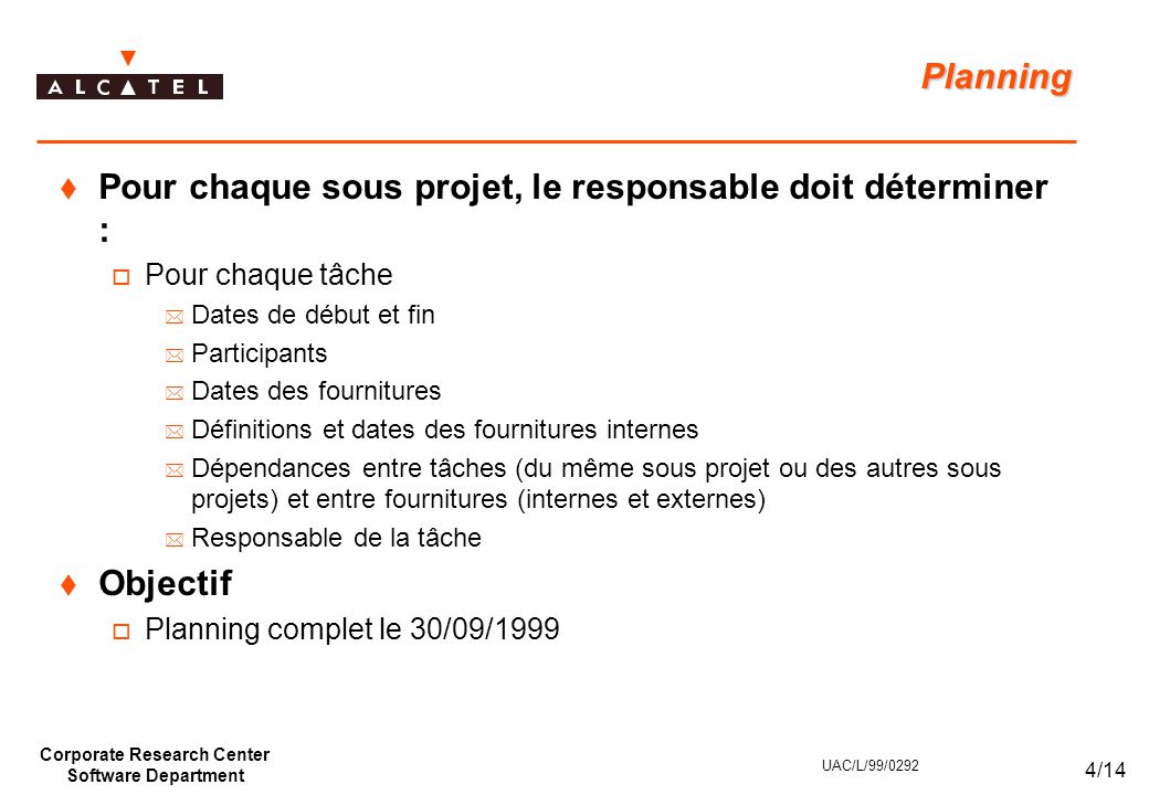 Corporate Research Center Software Department 5/14 UAC/L/99/0292 Exemple de planning