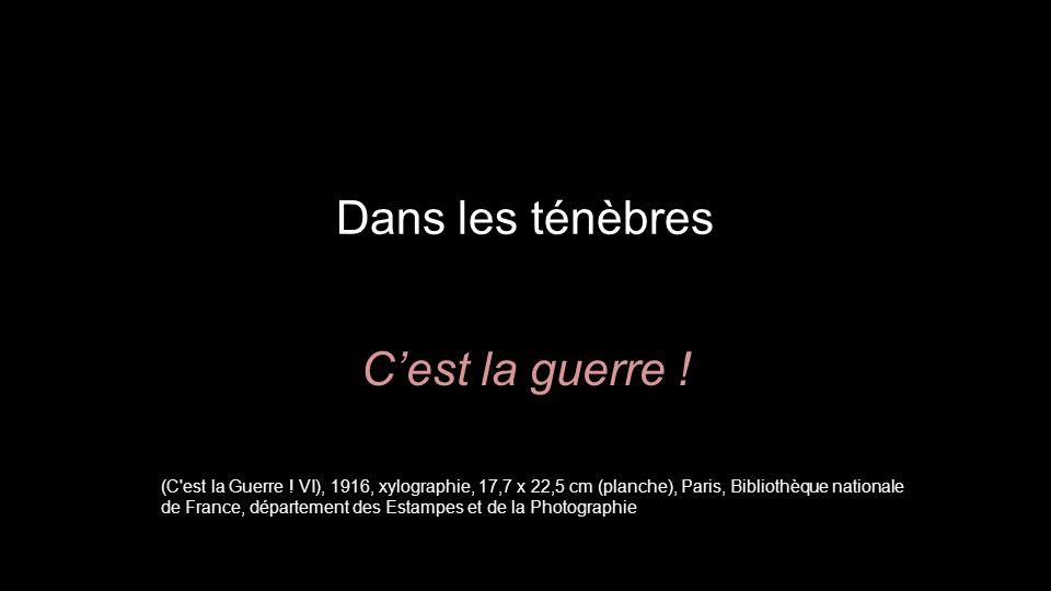 Dans les ténèbres C'est la guerre ! (C'est la Guerre ! VI), 1916, xylographie, 17,7 x 22,5 cm (planche), Paris, Bibliothèque nationale de France, dépa