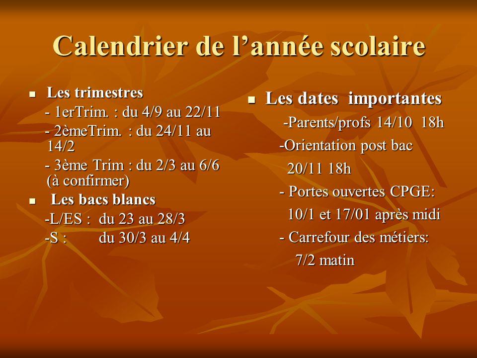 Calendrier de l'année scolaire Les trimestres Les trimestres - 1erTrim.