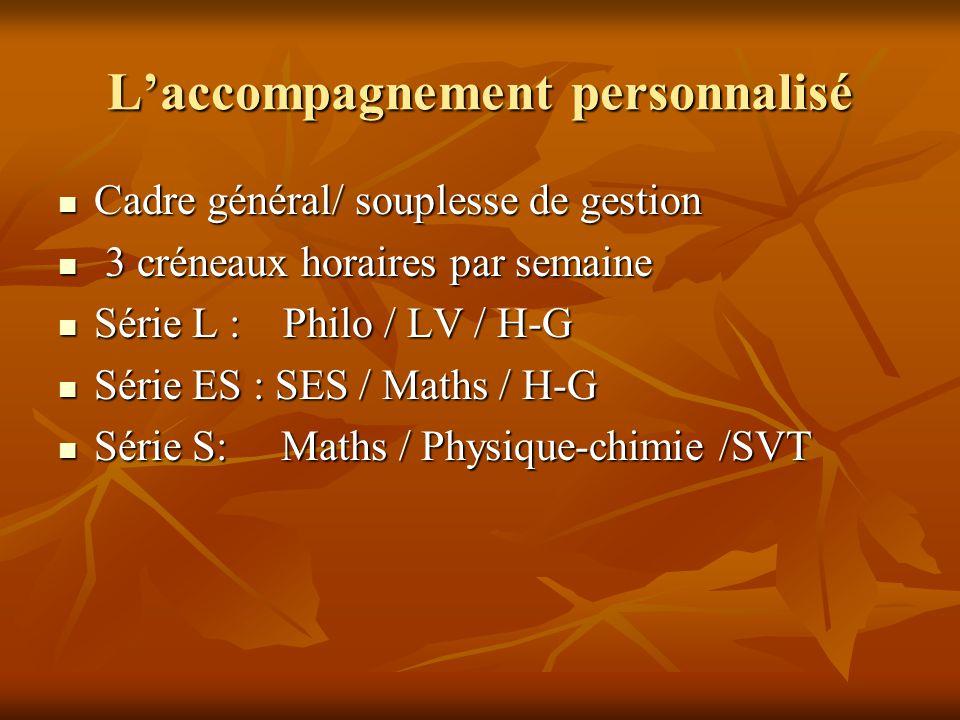 L'accompagnement personnalisé Cadre général/ souplesse de gestion Cadre général/ souplesse de gestion 3 créneaux horaires par semaine 3 créneaux horaires par semaine Série L : Philo / LV / H-G Série L : Philo / LV / H-G Série ES : SES / Maths / H-G Série ES : SES / Maths / H-G Série S: Maths / Physique-chimie /SVT Série S: Maths / Physique-chimie /SVT