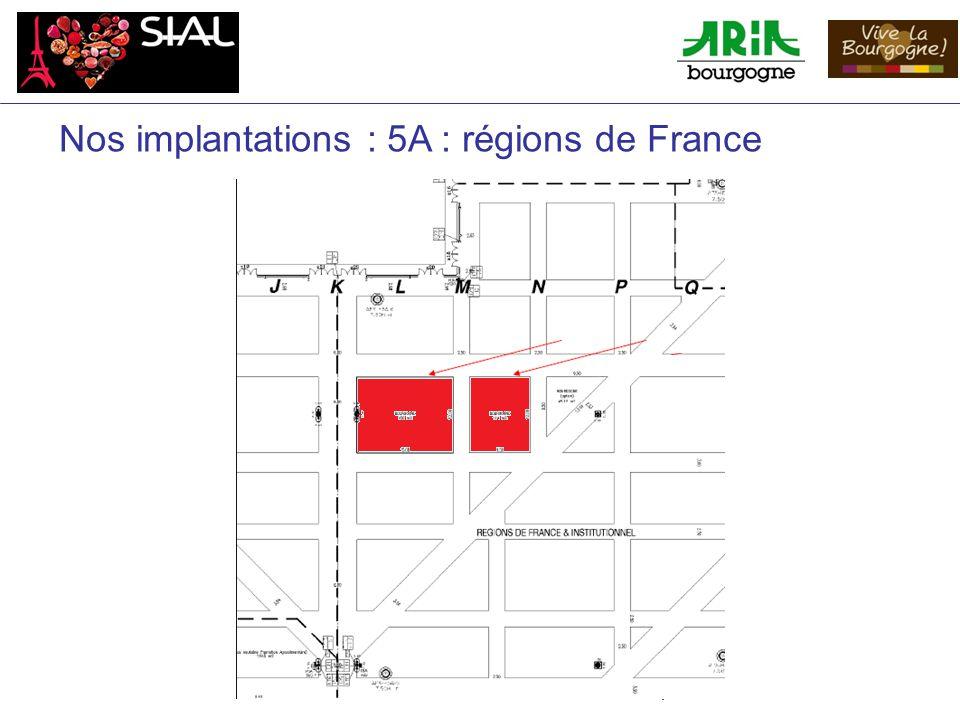 Nos implantations : 5A : régions de France