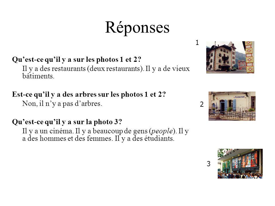 Réponses Qu'est-ce qu'il y a sur les photos 1 et 2.