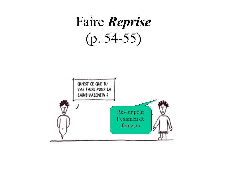 Faire Reprise (p. 54-55) Revoir pour l'examen de français