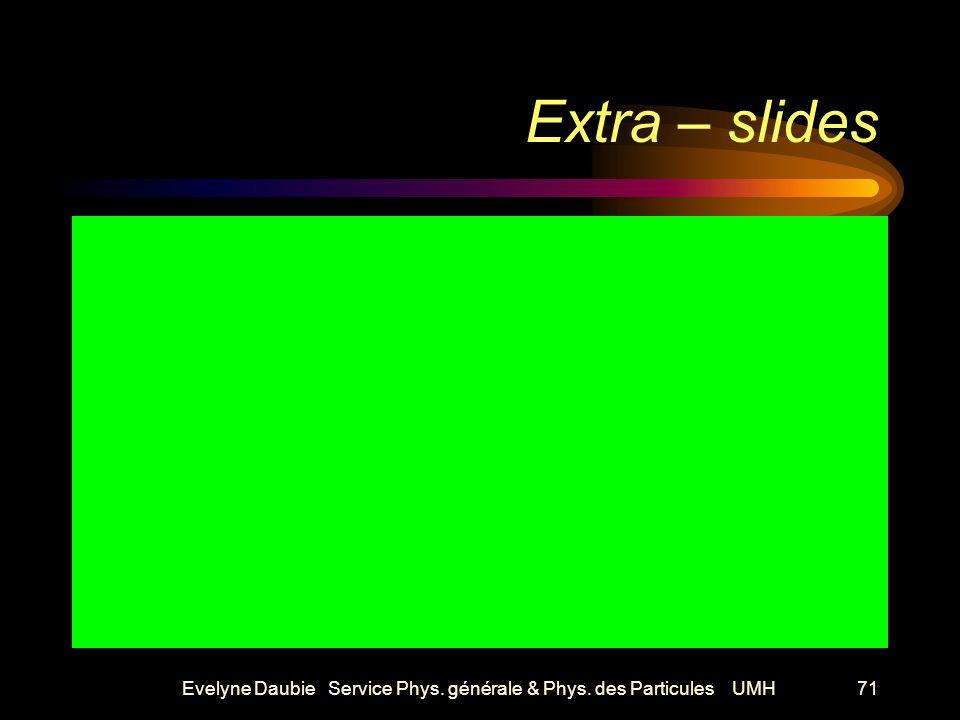 Evelyne Daubie Service Phys. générale & Phys. des Particules UMH71 Extra – slides