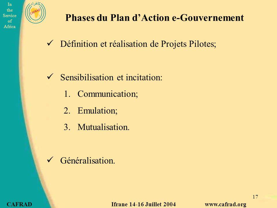 In the Service of Africa CAFRAD Ifrane 14-16 Juillet 2004 www.cafrad.org 17 Phases du Plan d'Action e-Gouvernement Définition et réalisation de Projets Pilotes; Sensibilisation et incitation: 1.Communication; 2.Emulation; 3.Mutualisation.