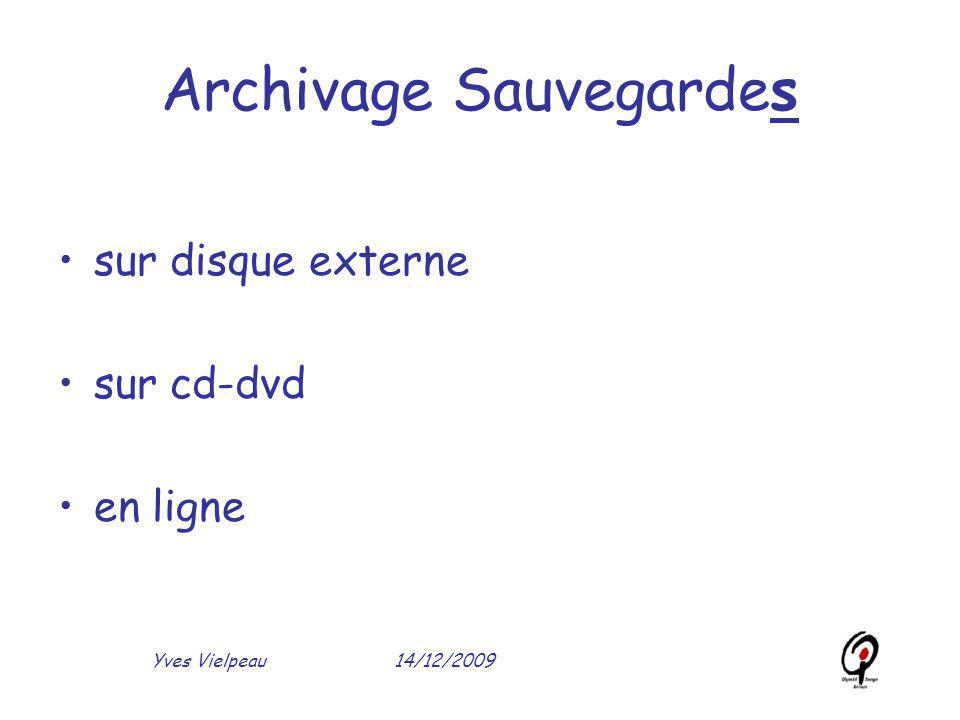 14/12/2009Yves Vielpeau Archivage Sauvegardes sur disque externe sur cd-dvd en ligne