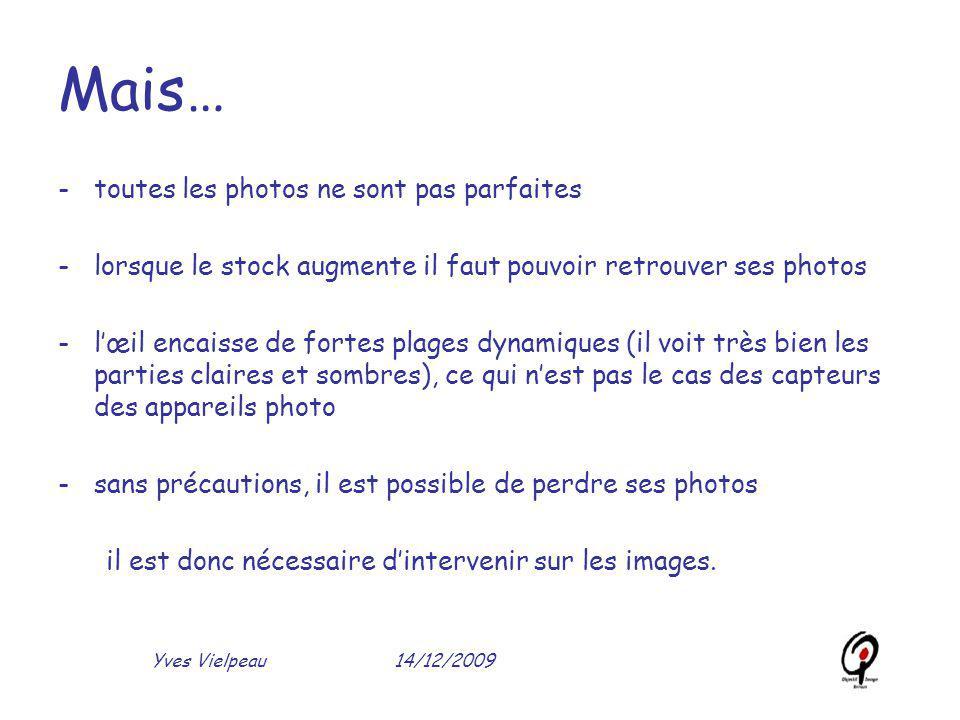 14/12/2009Yves Vielpeau Mais… -toutes les photos ne sont pas parfaites -lorsque le stock augmente il faut pouvoir retrouver ses photos -l'œil encaisse