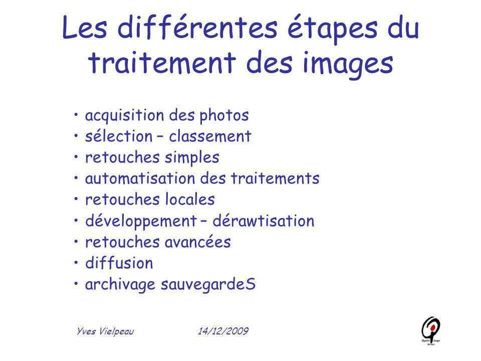 14/12/2009Yves Vielpeau Les différentes étapes du traitement des images acquisition des photos sélection – classement retouches simples automatisation