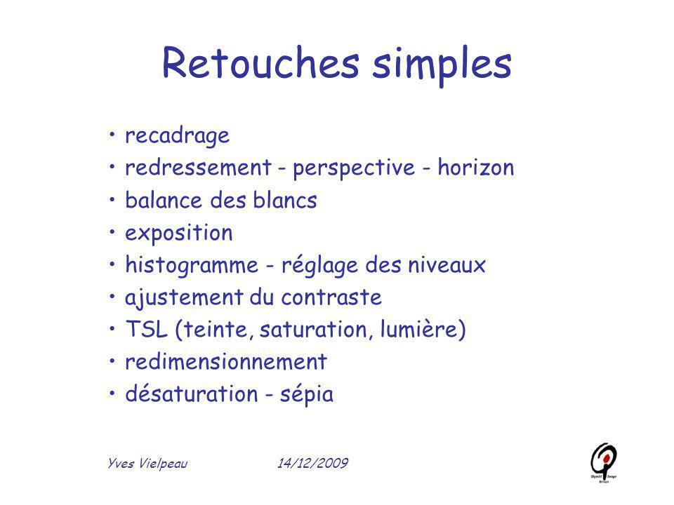 14/12/2009Yves Vielpeau Retouches simples recadrage redressement - perspective - horizon balance des blancs exposition histogramme - réglage des nivea