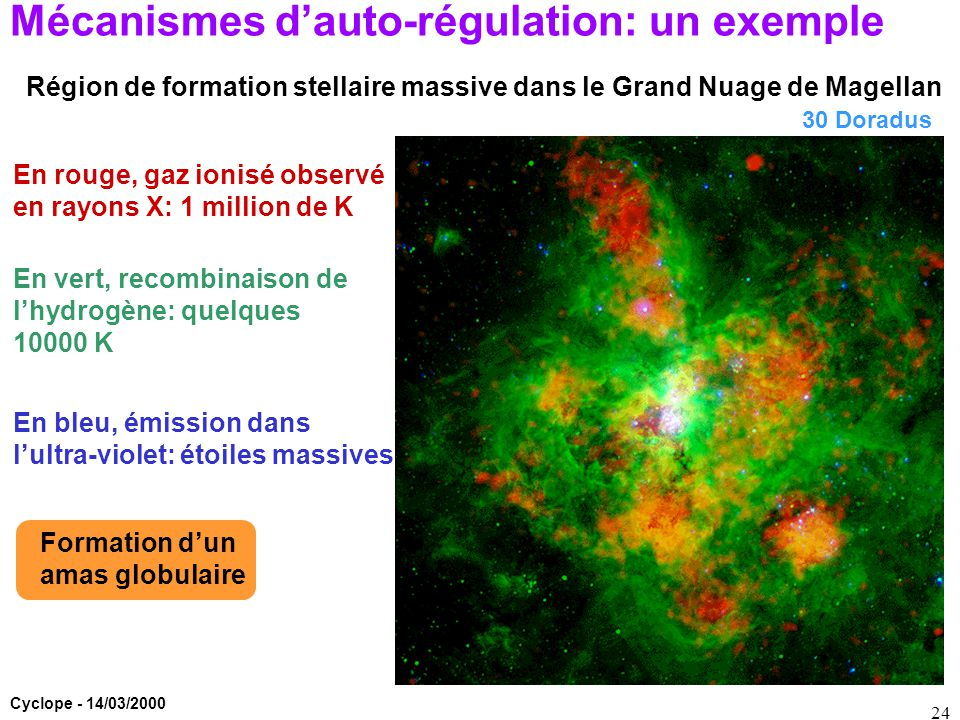 Cyclope - 14/03/2000 24 Mécanismes d'auto-régulation: un exemple Région de formation stellaire massive dans le Grand Nuage de Magellan En rouge, gaz i