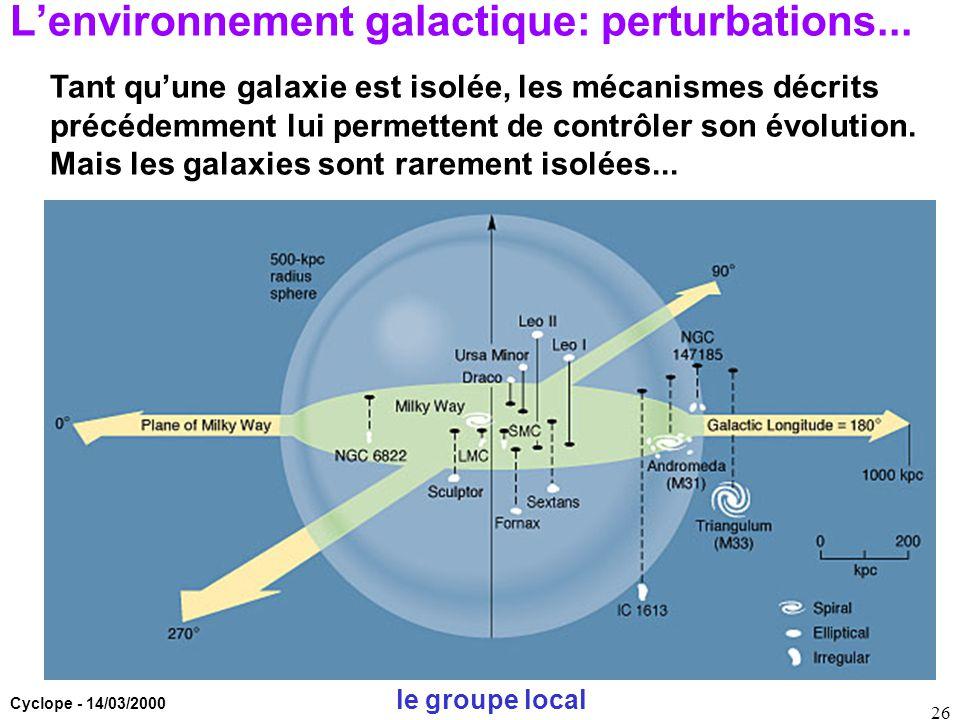 Cyclope - 14/03/2000 26 L'environnement galactique: perturbations... Tant qu'une galaxie est isolée, les mécanismes décrits précédemment lui permetten