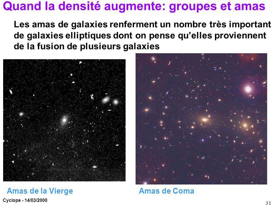 Cyclope - 14/03/2000 31 Quand la densité augmente: groupes et amas Amas de Coma Les amas de galaxies renferment un nombre très important de galaxies e