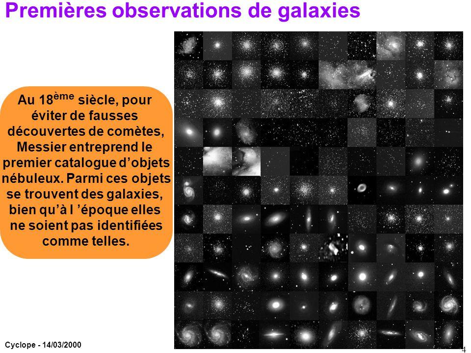 Cyclope - 14/03/2000 4 Premières observations de galaxies Au 18 ème siècle, pour éviter de fausses découvertes de comètes, Messier entreprend le premi