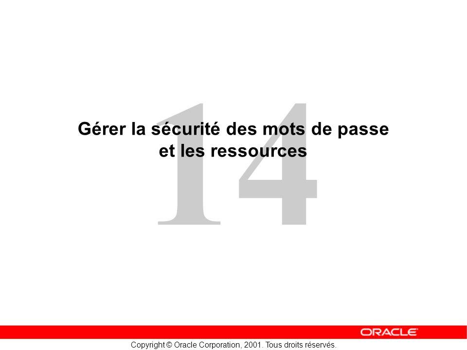 14 Copyright © Oracle Corporation, 2001. Tous droits réservés. Gérer la sécurité des mots de passe et les ressources