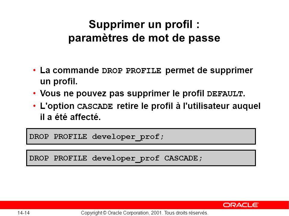 14-14 Copyright © Oracle Corporation, 2001. Tous droits réservés. DROP PROFILE developer_prof; DROP PROFILE developer_prof CASCADE; Supprimer un profi