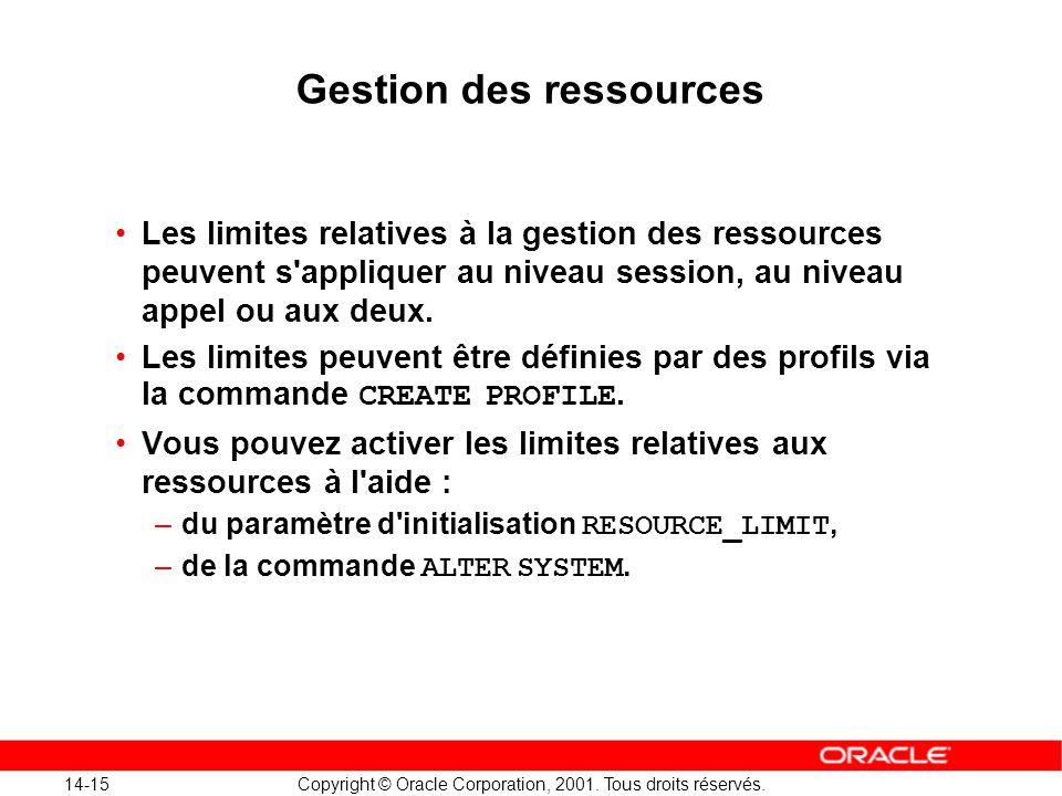14-15 Copyright © Oracle Corporation, 2001. Tous droits réservés. Gestion des ressources Les limites relatives à la gestion des ressources peuvent s'a