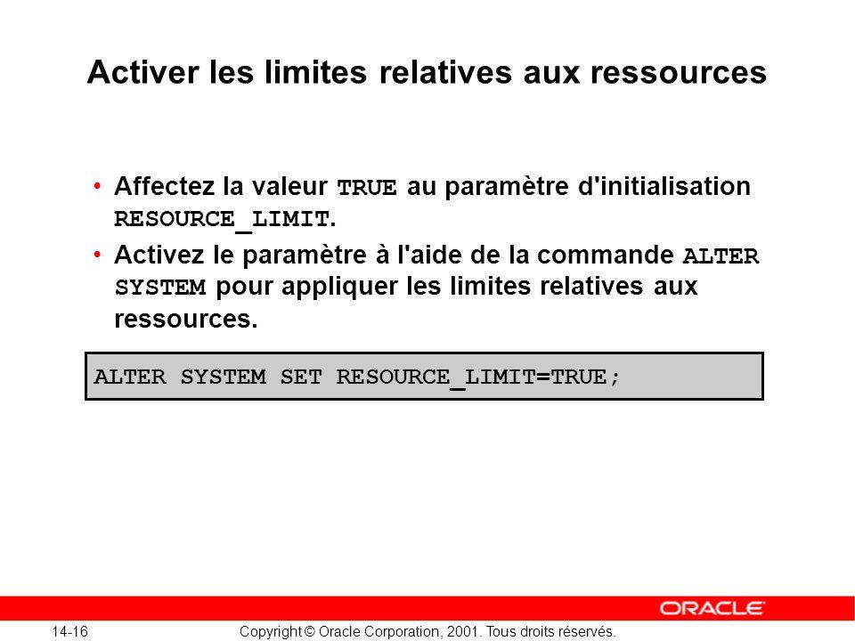 14-16 Copyright © Oracle Corporation, 2001. Tous droits réservés. Activer les limites relatives aux ressources Affectez la valeur TRUE au paramètre d'