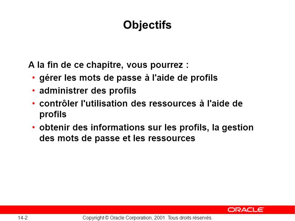 14-2 Copyright © Oracle Corporation, 2001. Tous droits réservés. Objectifs A la fin de ce chapitre, vous pourrez : gérer les mots de passe à l'aide de