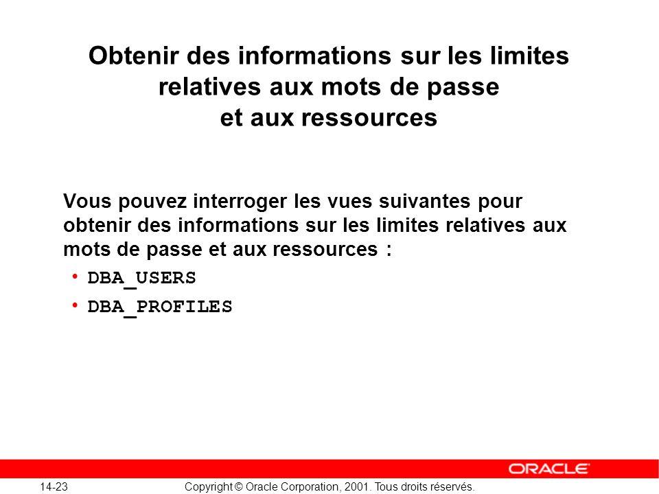 14-23 Copyright © Oracle Corporation, 2001. Tous droits réservés. Obtenir des informations sur les limites relatives aux mots de passe et aux ressourc