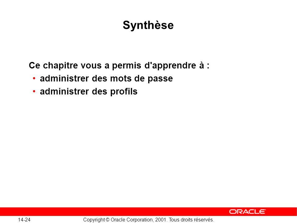 14-24 Copyright © Oracle Corporation, 2001. Tous droits réservés. Synthèse Ce chapitre vous a permis d'apprendre à : administrer des mots de passe adm
