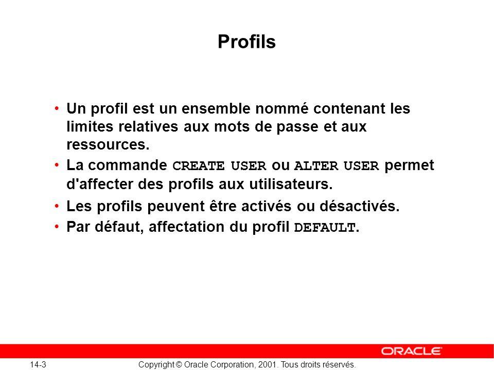 14-3 Copyright © Oracle Corporation, 2001. Tous droits réservés. Profils Un profil est un ensemble nommé contenant les limites relatives aux mots de p