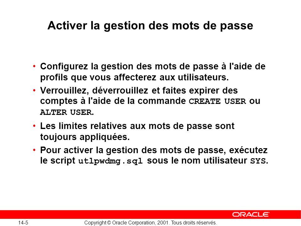 14-5 Copyright © Oracle Corporation, 2001. Tous droits réservés. Configurez la gestion des mots de passe à l'aide de profils que vous affecterez aux u